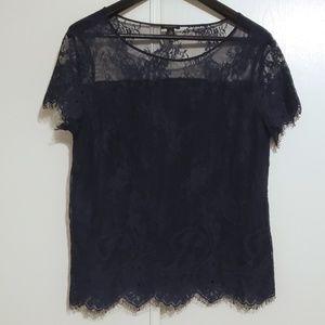 Ann Taylor Navy Eyelash Lace Short Sleeve Shirt